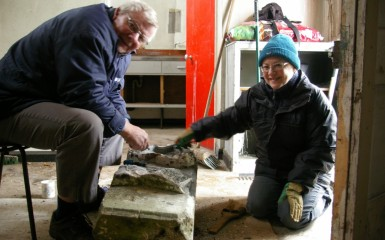 Friends of Goostrey Station restore new keystone